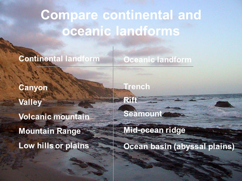 Compare continental and oceanic landforms Continental landform Canyon Valley Volcanic mountain Mountain Range Low hills or plains Oceanic landform Tre