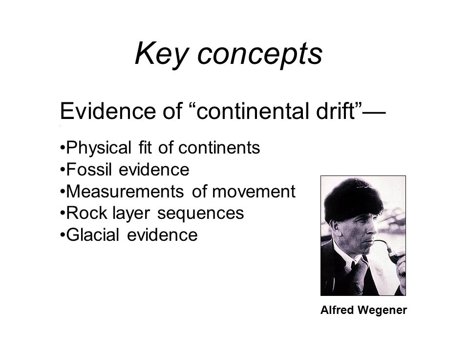 Evidence of continental drift —.