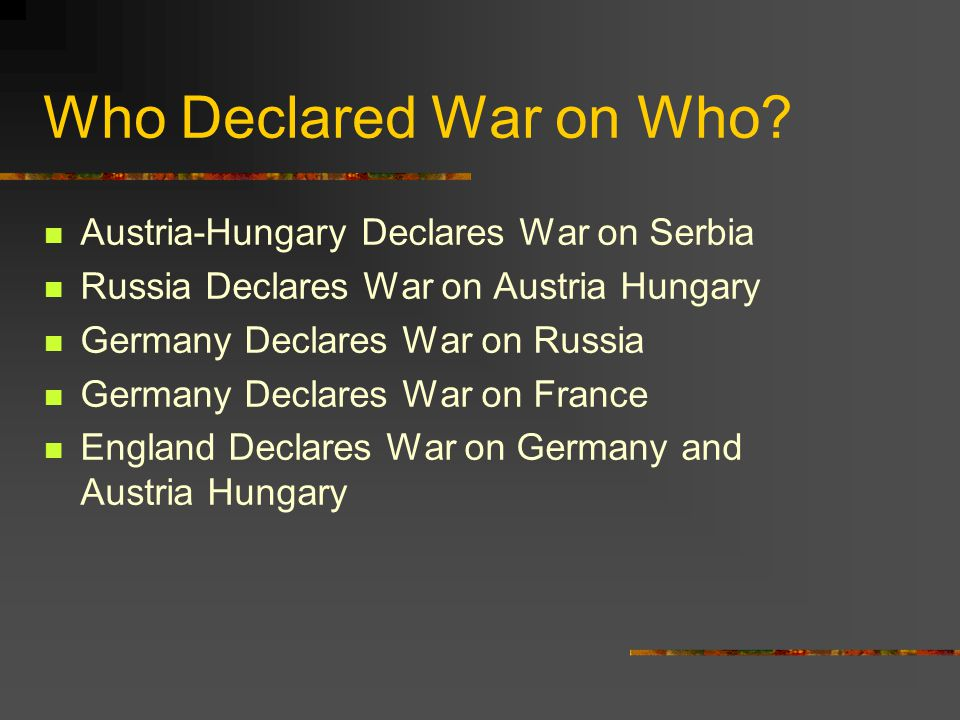 Who Declared War on Who.