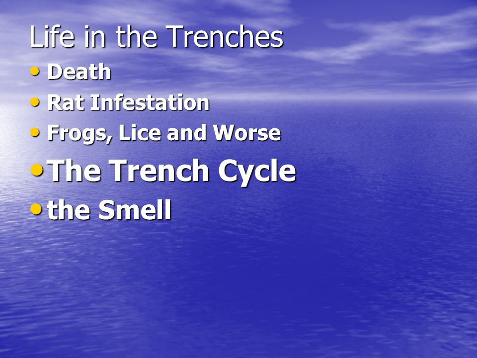 Life in the Trenches Death Death Rat Infestation Rat Infestation Frogs, Lice and Worse Frogs, Lice and Worse The Trench Cycle The Trench Cycle the Smell the Smell
