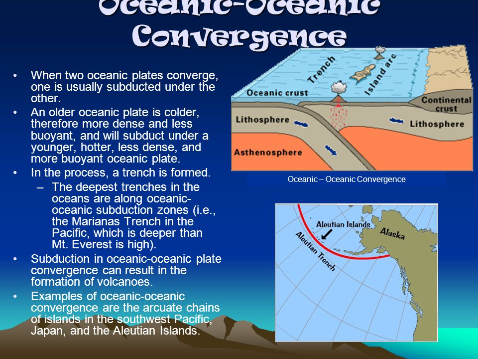 Oceanic-Oceanic Convergence When two oceanic plates converge, one is usually subducted under the other. An older oceanic plate is colder, therefore mo