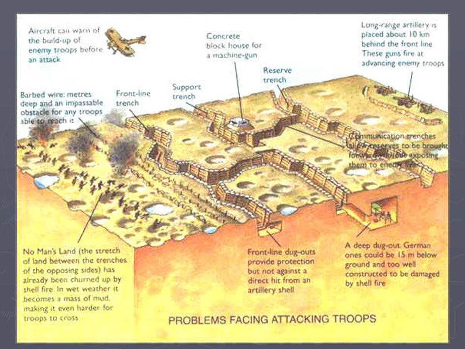 ► Support Trenches contained support troops who would back up the troops in the firing trench when being invaded.