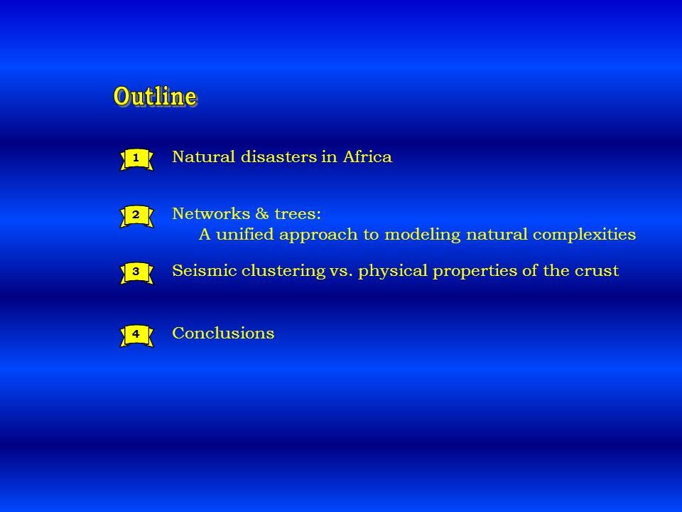 Natural disasters in Africa Networks & trees: A unified approach to modeling natural complexities 1 2 3 Seismic clustering vs.