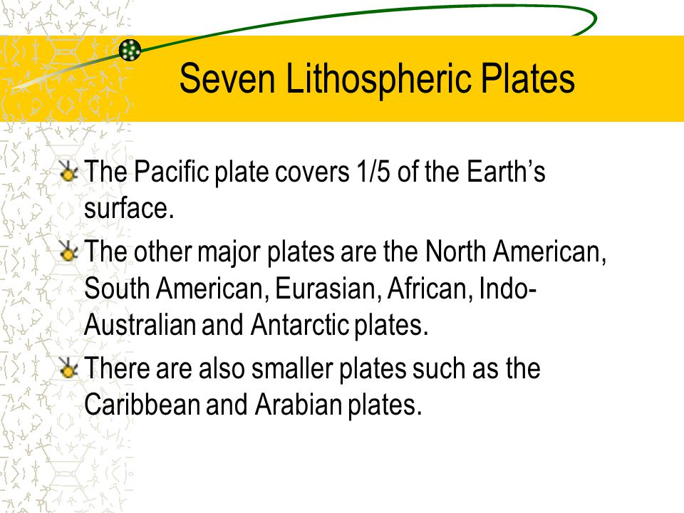 Seven Lithospheric Plates The Pacific plate covers 1/5 of the Earth's surface. The other major plates are the North American, South American, Eurasian
