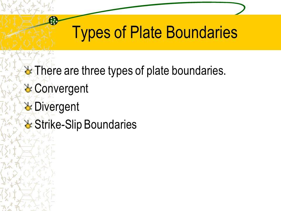 Types of Plate Boundaries There are three types of plate boundaries. Convergent Divergent Strike-Slip Boundaries