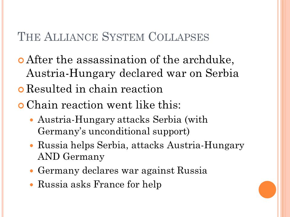 T HE A LLIANCE S YSTEM C OLLAPSES After the assassination of the archduke, Austria-Hungary declared war on Serbia Resulted in chain reaction Chain reaction went like this: Austria-Hungary attacks Serbia (with Germany's unconditional support) Russia helps Serbia, attacks Austria-Hungary AND Germany Germany declares war against Russia Russia asks France for help