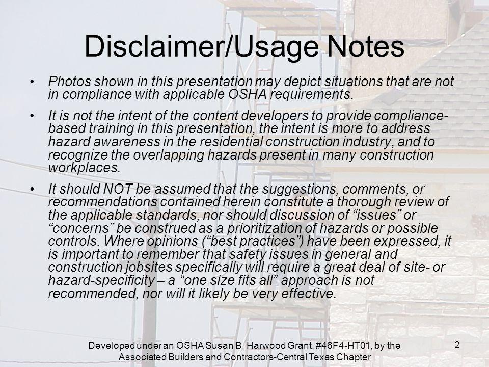 Developed under an OSHA Susan B.