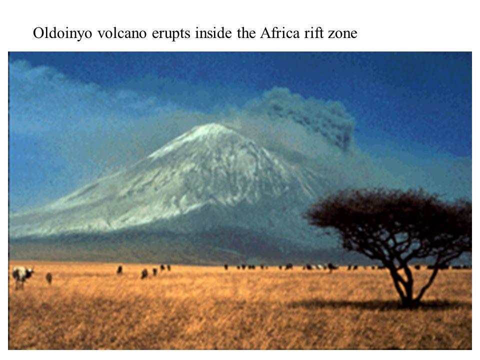 Oldoinyo volcano erupts inside the Africa rift zone
