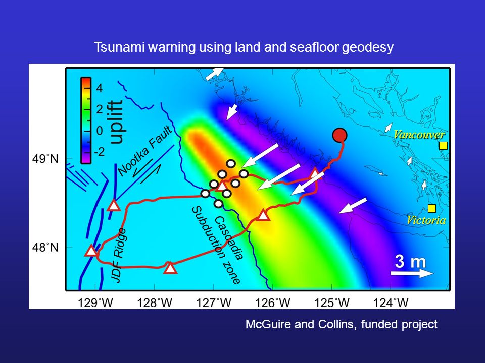 Cascadia Subduction zone Nootka Fault JDF Ridge Vancouver Victoria Tsunami warning using land and seafloor geodesy McGuire and Collins, funded project