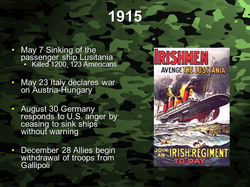 Slide 13 1915 May 7 Sinking of the passenger ship LusitaniaMay 7 Sinking of the passenger ship Lusitania Killed 1200, 123 AmericansKilled 1200, 123 Americans May 23 Italy declares war on Austria-HungaryMay 23 Italy declares war on Austria-Hungary August 30 Germany responds to U.S.