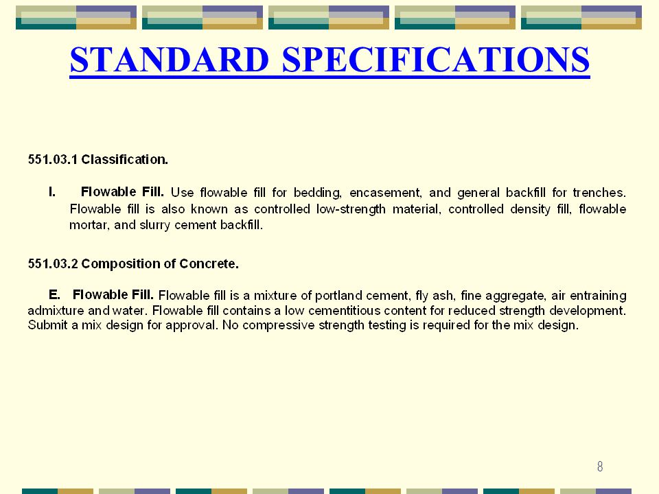 8 STANDARD SPECIFICATIONS