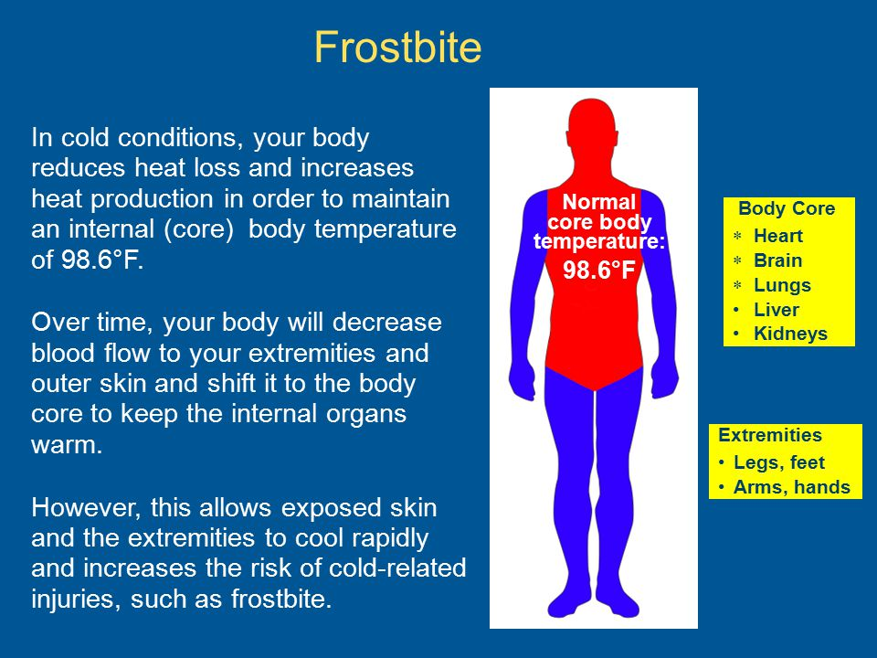 Frostbite Normal core body temperature: 98.6°F In cold conditions, your body reduces heat loss and increases heat production in order to maintain an i