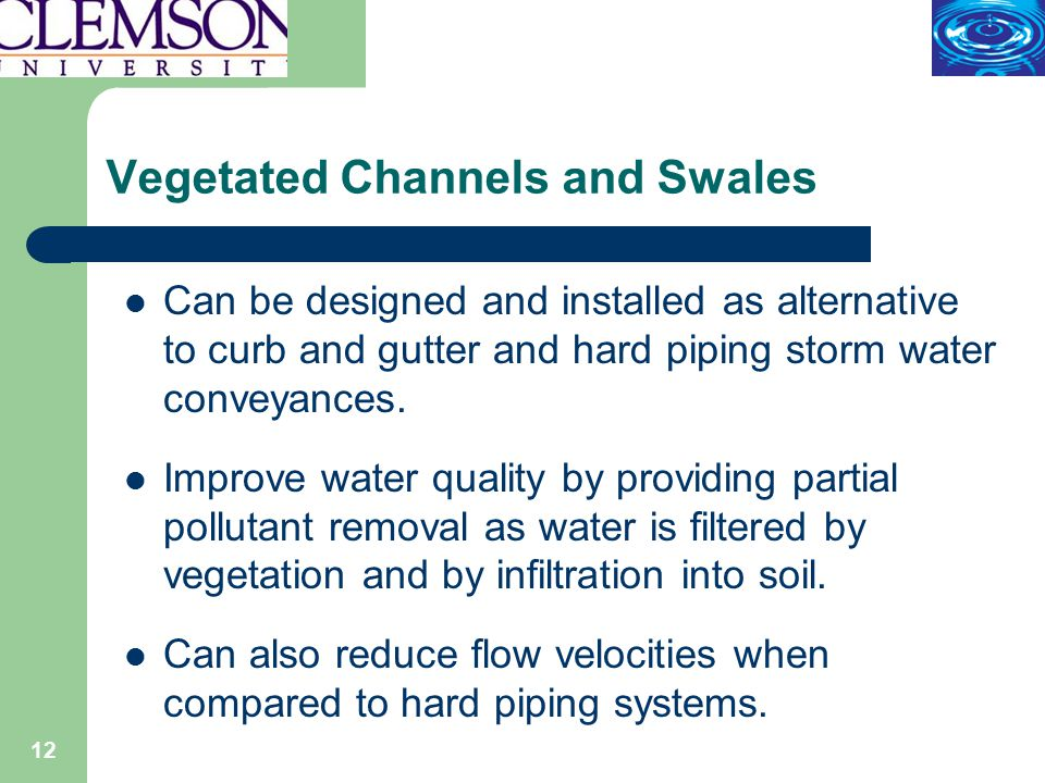 12 Vegetated Channels and Swales Can be designed and installed as alternative to curb and gutter and hard piping storm water conveyances.
