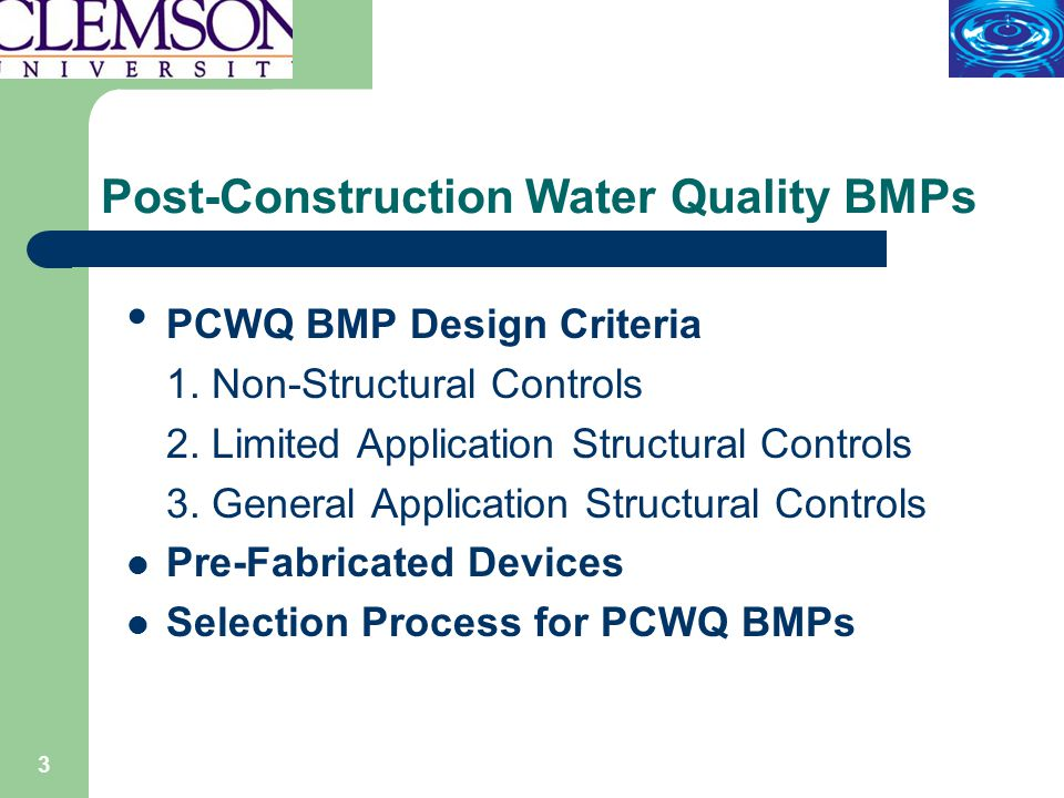 44 Selection Process for Post Construction Water Quality BMPs