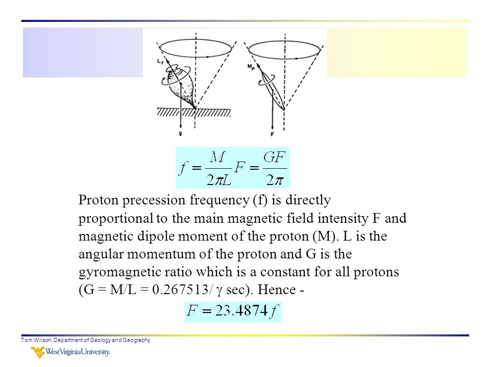 Tom Wilson, Department of Geology and Geography Proton precession frequency (f) is directly proportional to the main magnetic field intensity F and magnetic dipole moment of the proton (M).