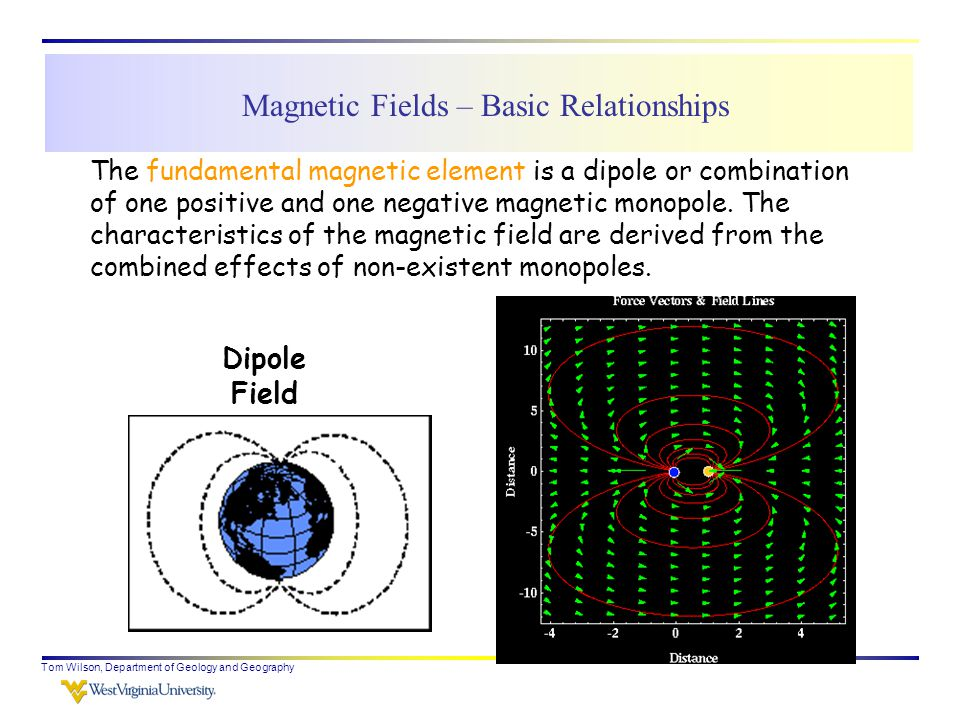 Tom Wilson, Department of Geology and Geography The fundamental magnetic element is a dipole or combination of one positive and one negative magnetic monopole.