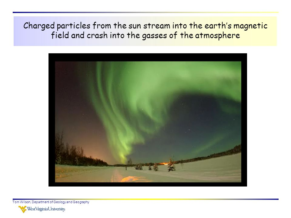 Charged particles from the sun stream into the earth's magnetic field and crash into the gasses of the atmosphere