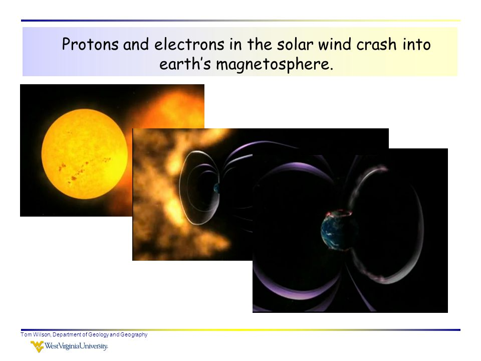 Tom Wilson, Department of Geology and Geography Protons and electrons in the solar wind crash into earth's magnetosphere.