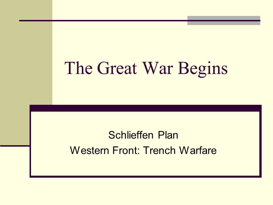 The Great War Begins Schlieffen Plan Western Front: Trench Warfare
