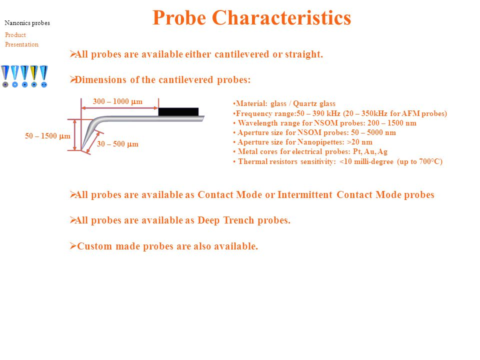 Probe Characteristics  All probes are available either cantilevered or straight.  Dimensions of the cantilevered probes:  All probes are available