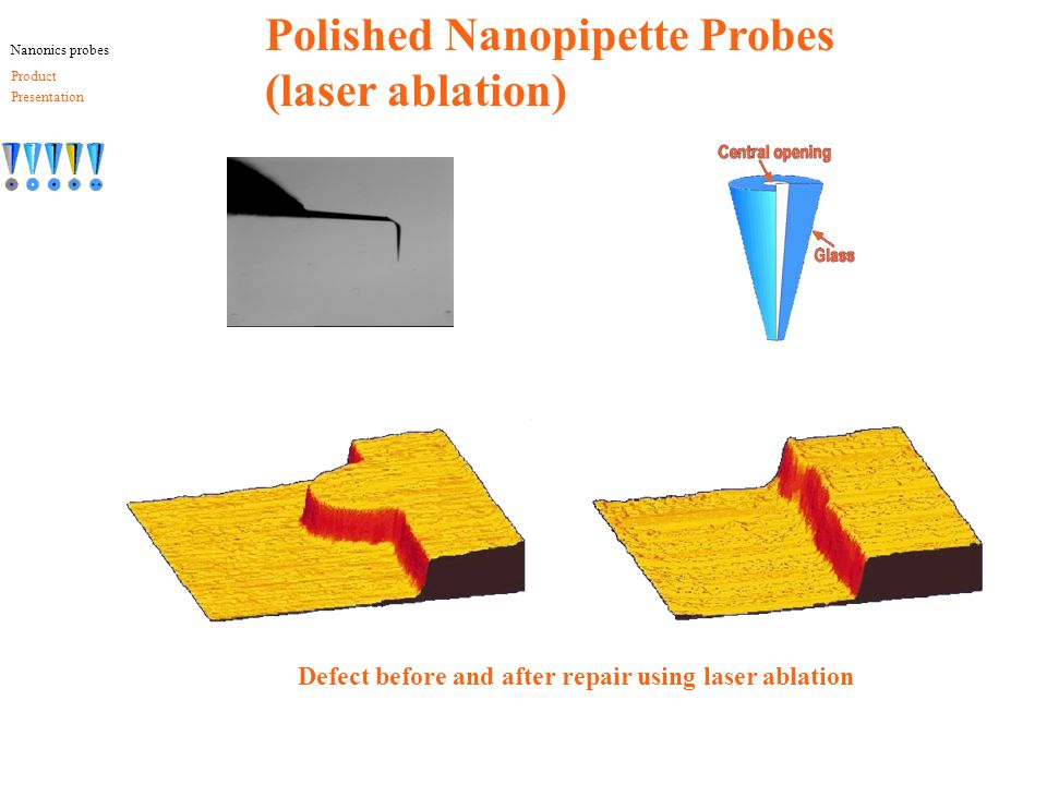 Defect before and after repair using laser ablation Polished Nanopipette Probes (laser ablation) Nanonics probes Product Presentation