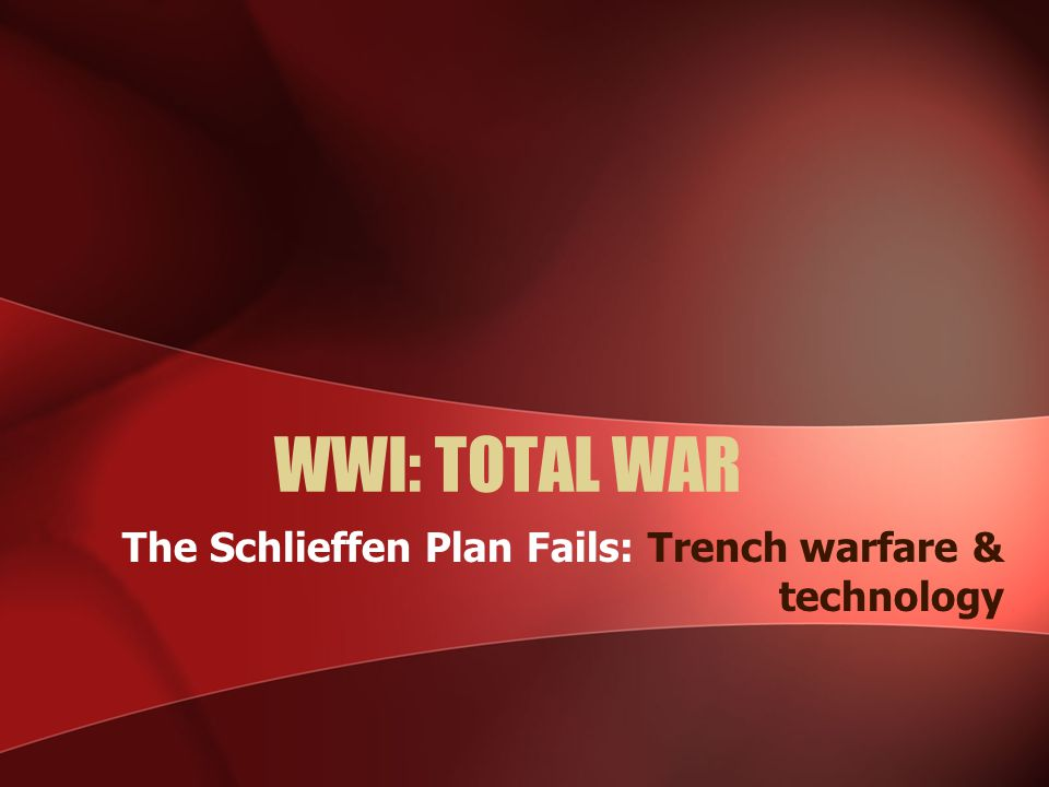 WWI: TOTAL WAR The Schlieffen Plan Fails: Trench warfare & technology