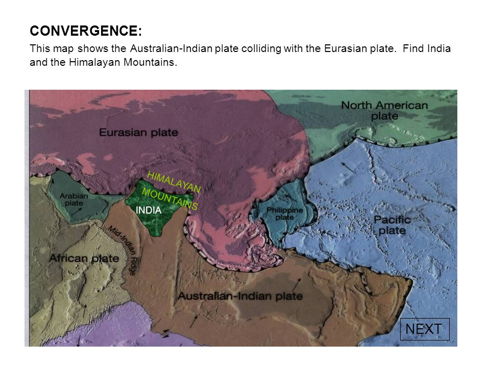 CONVERGENCE: India colliding with Asia The Himalayan Mountains are an example of a collision boundary that is still forming today. Here India is pushi