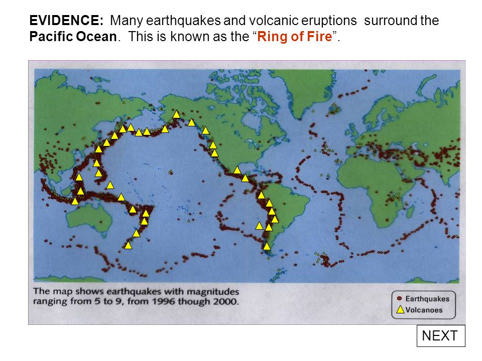 EVIDENCE: EARTHQUAKE FOCI DEPTH [Japan trench region] Japan is an island arc created from the subduction of the Pacific Plate. Earthquakes in western