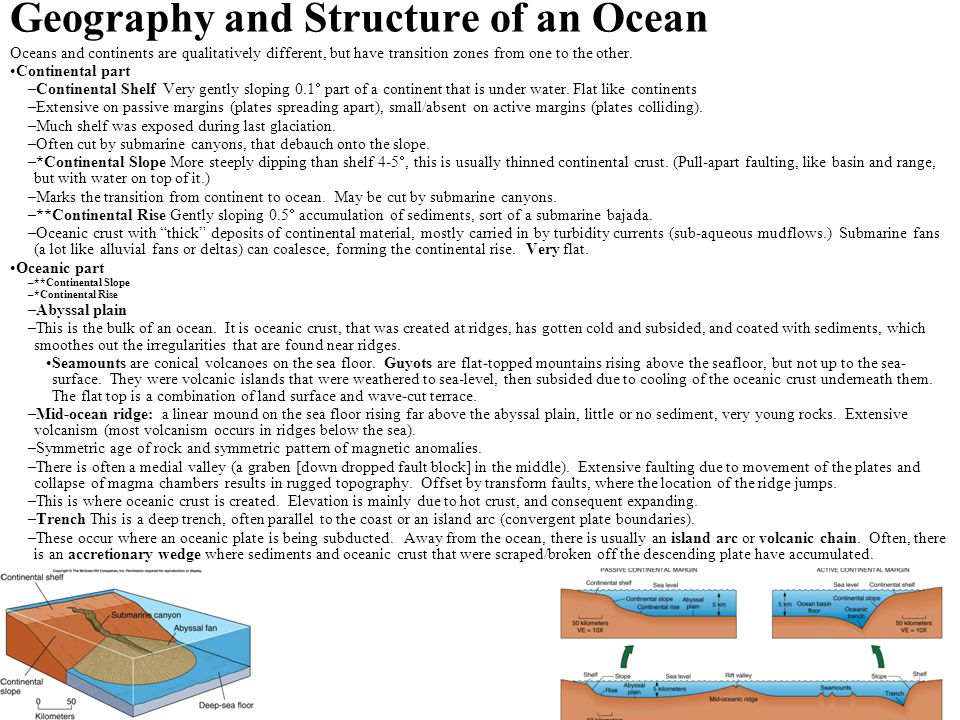 Geography and Structure of an Ocean Oceans and continents are qualitatively different, but have transition zones from one to the other. Continental pa