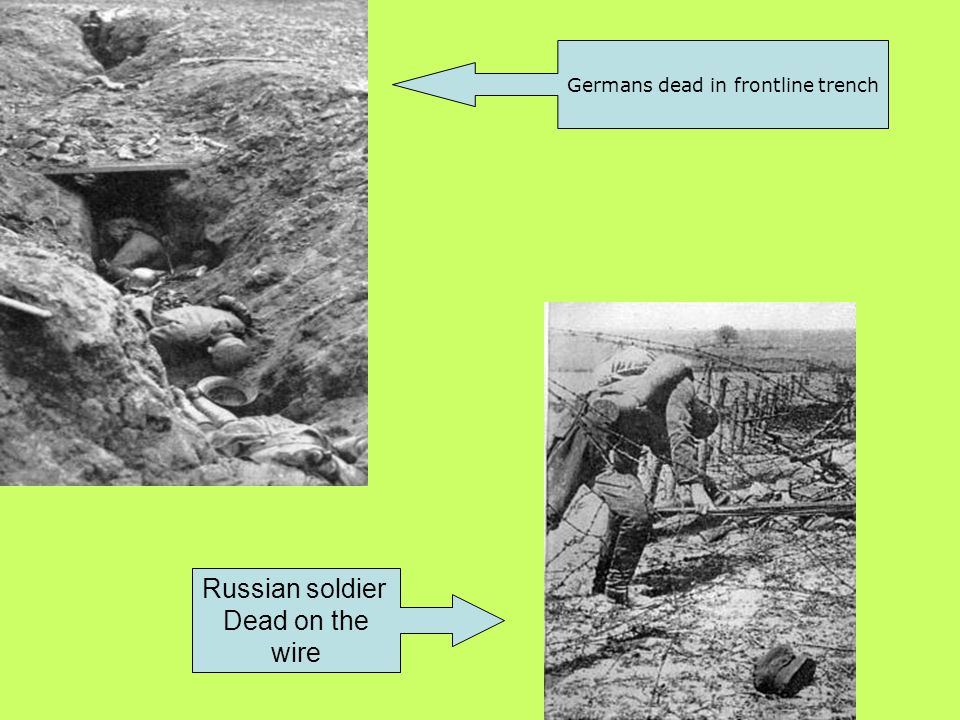 Germans dead in frontline trench Russian soldier Dead on the wire
