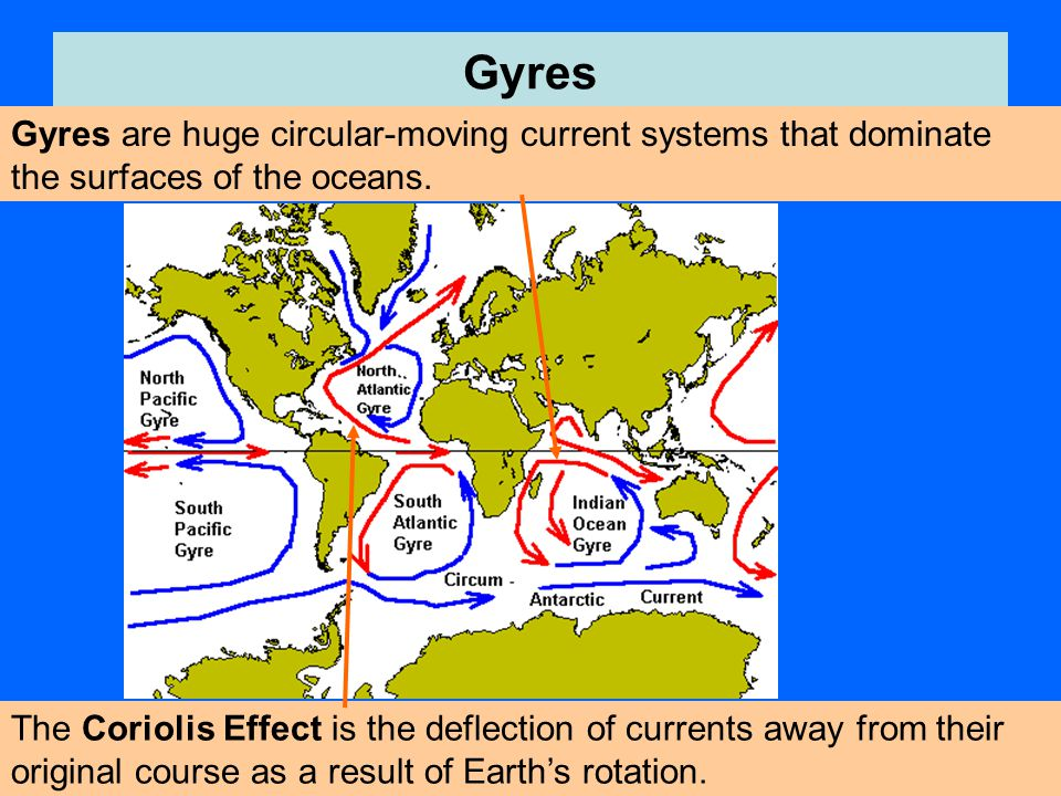 Gyres Gyres are huge circular-moving current systems that dominate the surfaces of the oceans. The Coriolis Effect is the deflection of currents away