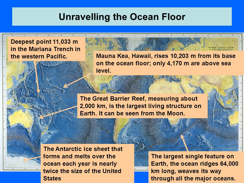 Unravelling the Ocean Floor Deepest point 11,033 m in the Mariana Trench in the western Pacific.