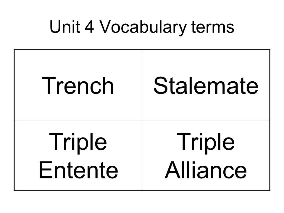 Unit 4 Vocabulary terms TrenchStalemate Triple Entente Triple Alliance