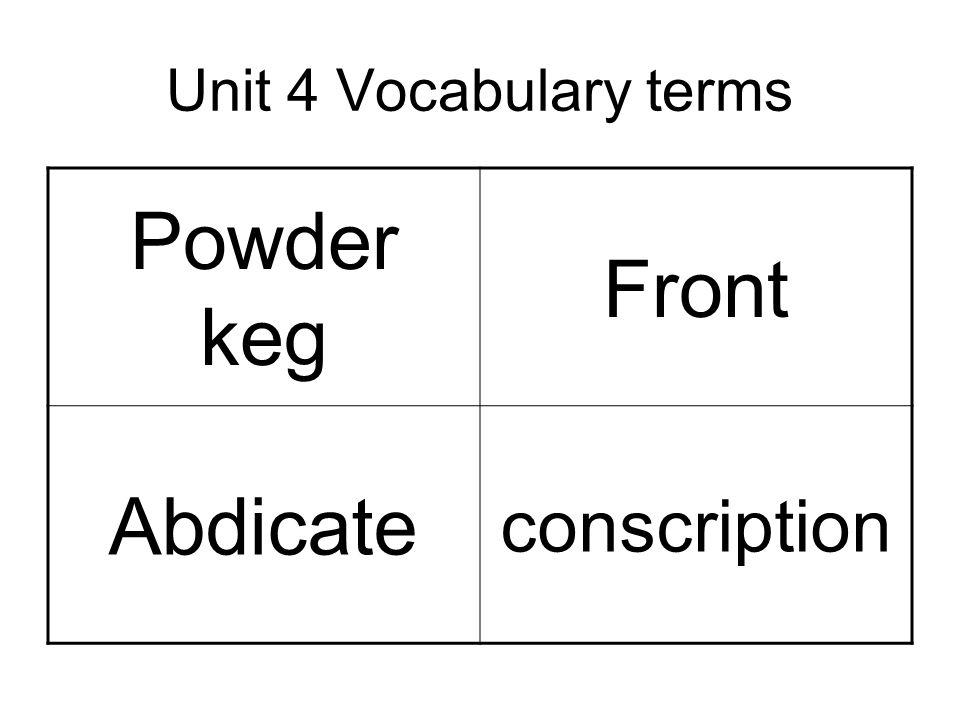Unit 4 Vocabulary terms Powder keg Front Abdicate conscription