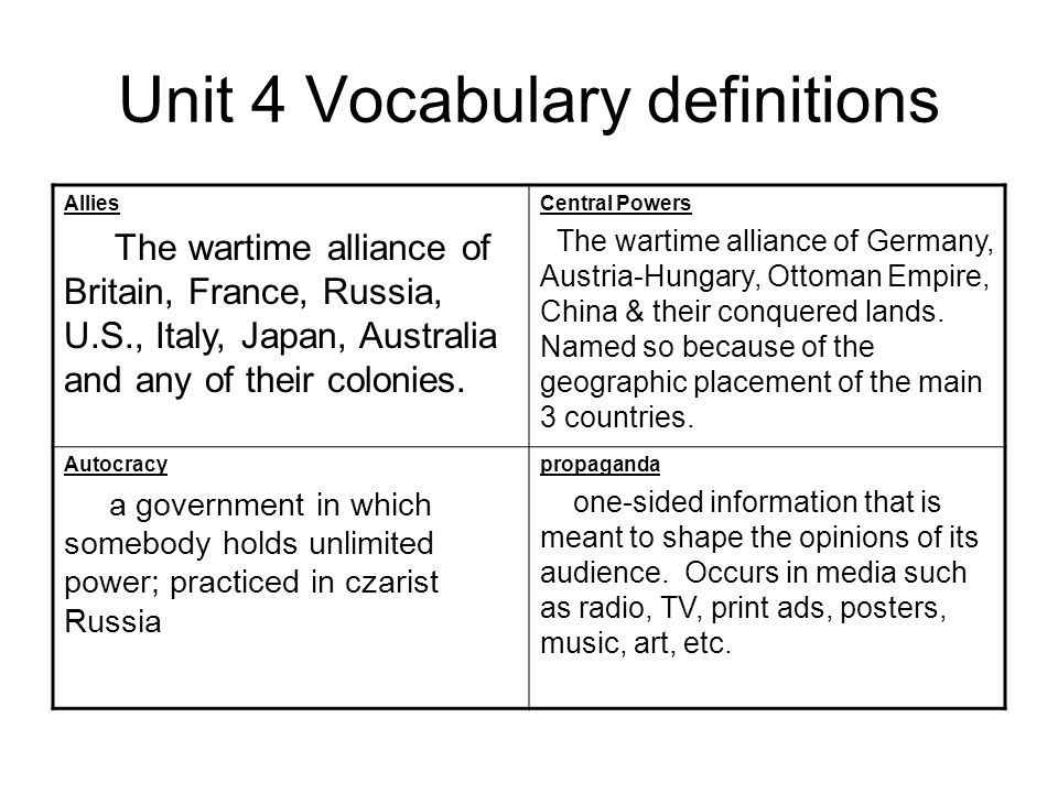Unit 4 Vocabulary definitions duma Russian parliament; instated by Czar Nicholas II after Bloody Sunday but revoked after 10 weeks.