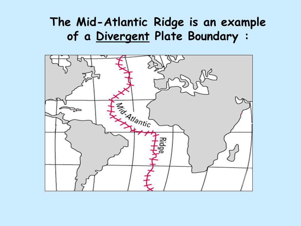 Another example of a Divergent Plate Boundary is Iceland, which is splitting apart down the middle.