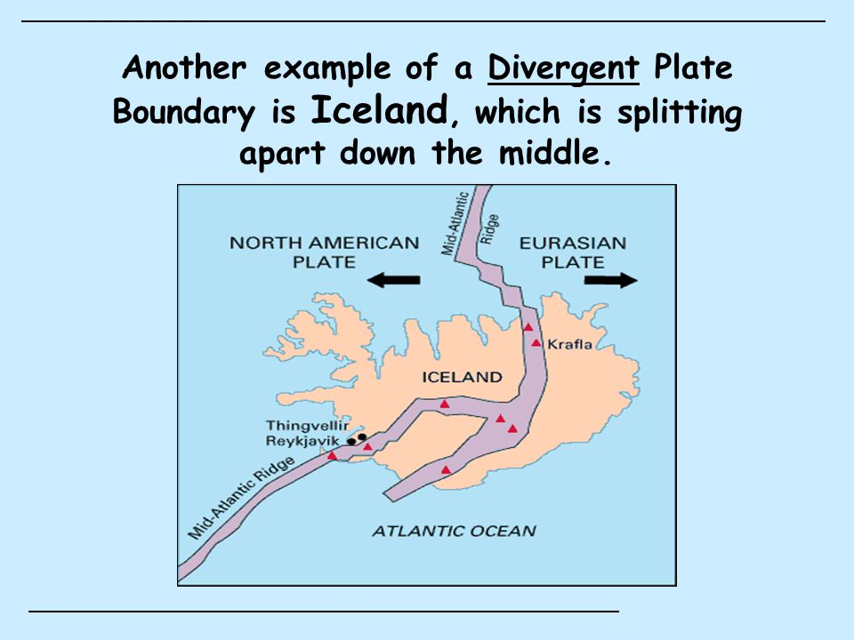 Features of a Divergent Boundary: (1) Rift Valley The Álfagjá Rift Valley in southwest Iceland Most of the world's rift valleys are on the ocean floor.
