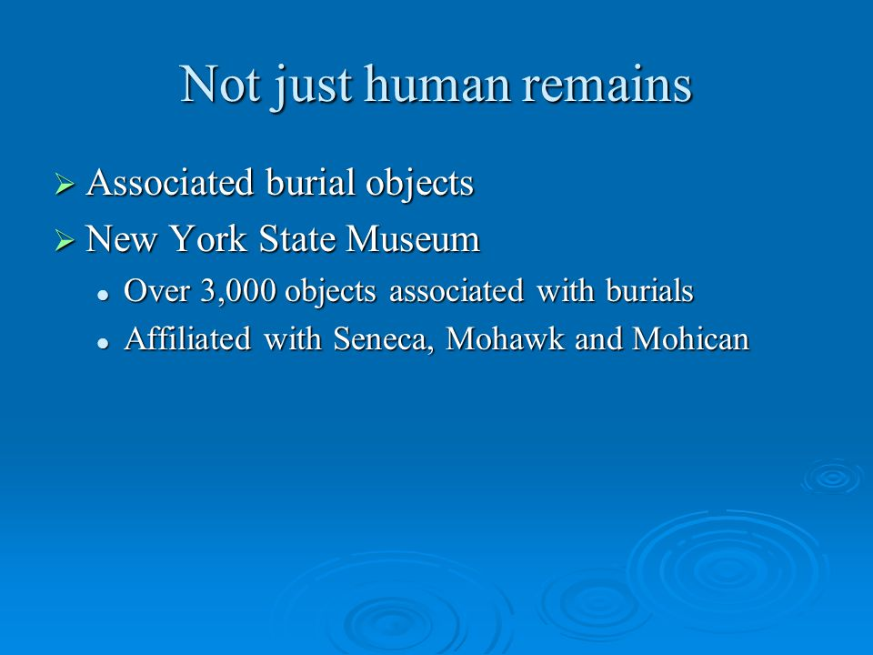 Not just human remains  Associated burial objects  New York State Museum Over 3,000 objects associated with burials Over 3,000 objects associated with burials Affiliated with Seneca, Mohawk and Mohican Affiliated with Seneca, Mohawk and Mohican