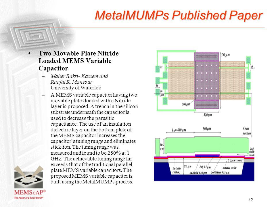 19 MetalMUMPs Published Paper Two Movable Plate Nitride Loaded MEMS Variable Capacitor –Maher Bakri- Kassem and Raafat R. Mansour University of Waterl