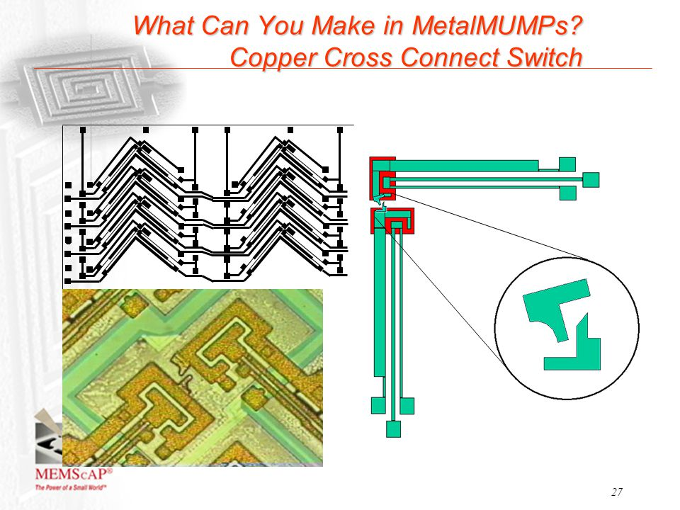 27 What Can You Make in MetalMUMPs? Copper Cross Connect Switch