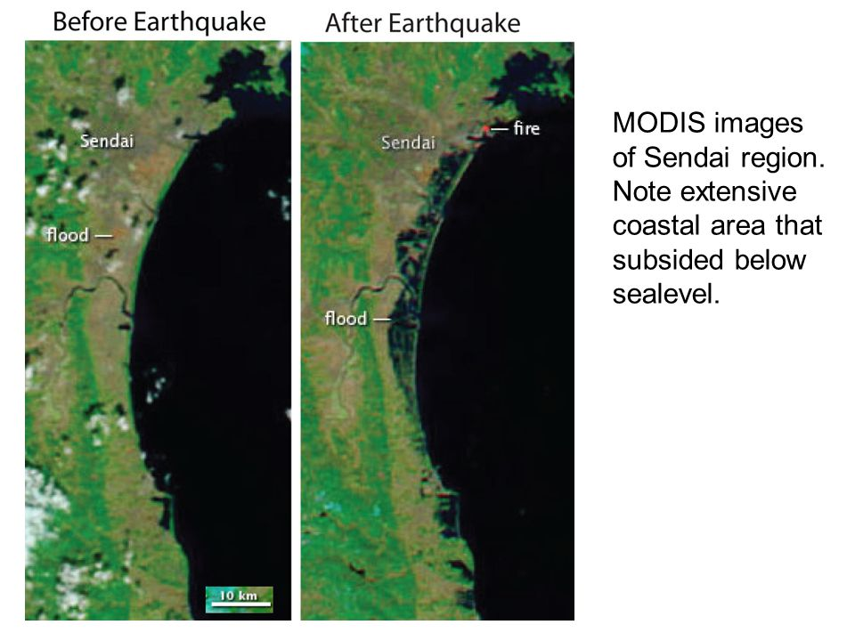 MODIS images of Sendai region. Note extensive coastal area that subsided below sealevel.