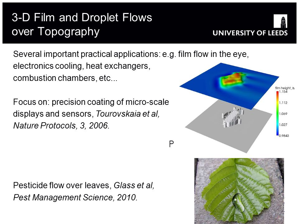 3-D Film and Droplet Flows over Topography Plant disease control Several important practical applications: e.g.