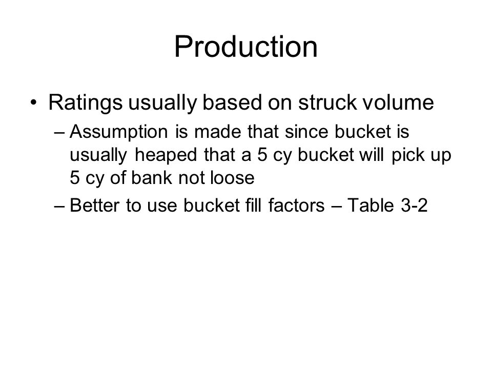 Production Ratings usually based on struck volume –Assumption is made that since bucket is usually heaped that a 5 cy bucket will pick up 5 cy of bank