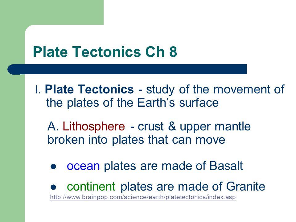 Plate Tectonics Ch 8 I.