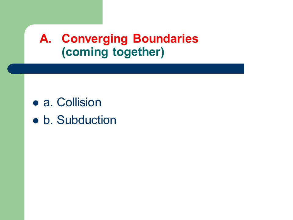 3 Types of Plate Boundaries 1. Converging Plate Boundaries – come together 2.