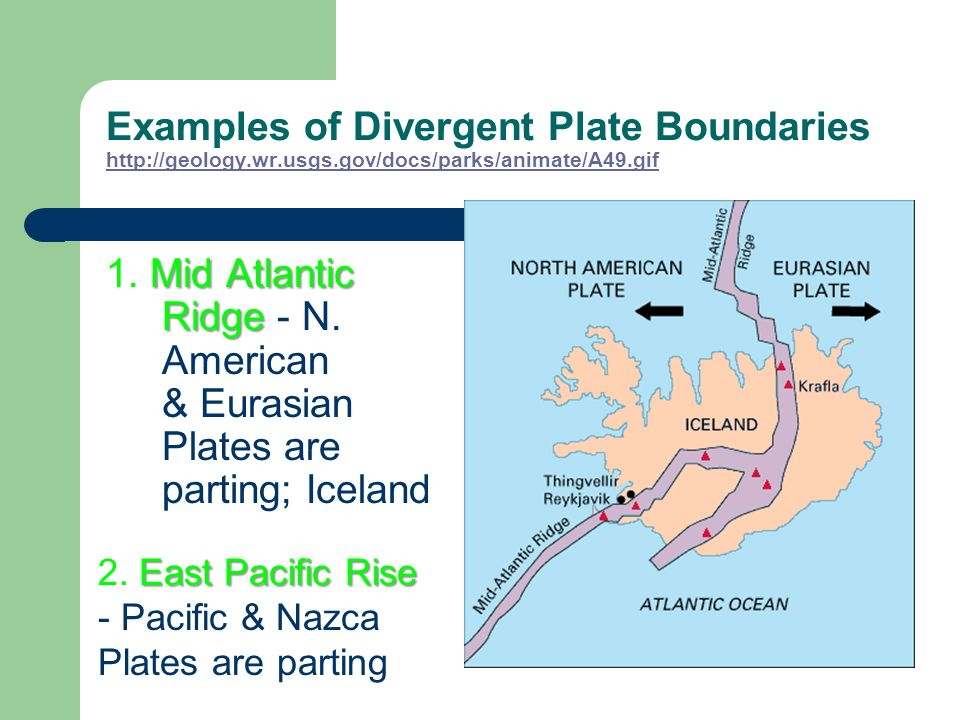 B. Diverging Boundaries (moving apart) youngest rock is on the rift zone Rock is older the further away it is from the rift in the plates