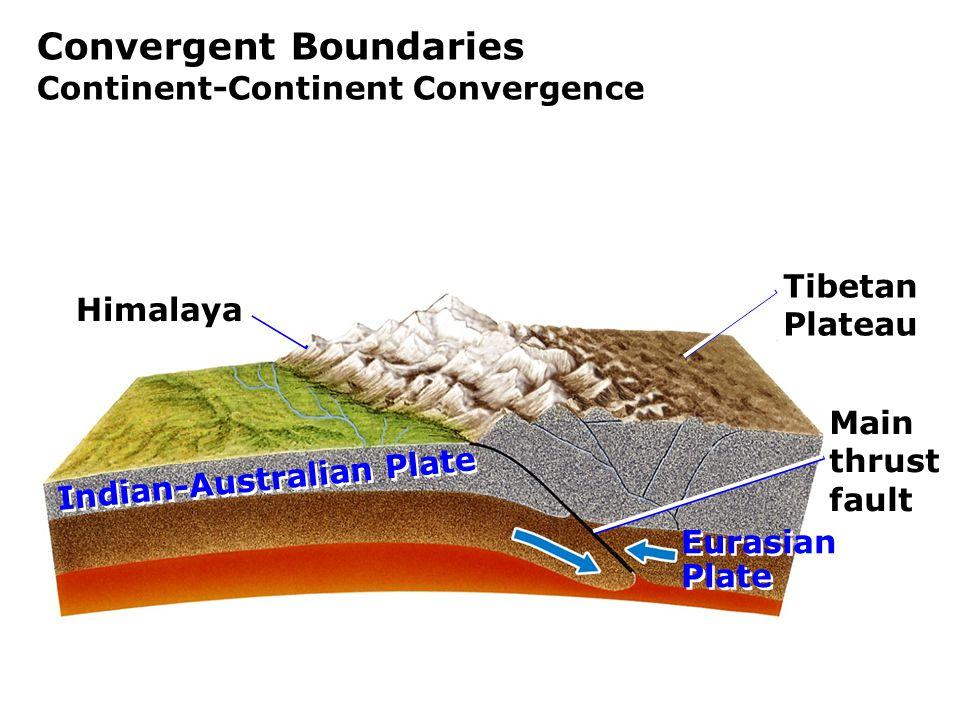 Convergent Boundaries Continent-Continent Convergence Himalaya Main thrust fault Tibetan Plateau Indian-Australian Plate Eurasian Plate Eurasian Plate
