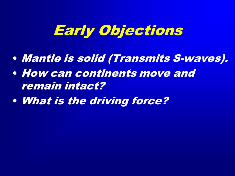 Early Objections Mantle is solid (Transmits S-waves).