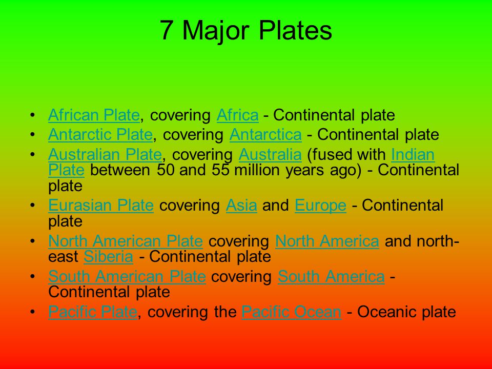 7 Major Plates African Plate, covering Africa - Continental plateAfrican PlateAfrica Antarctic Plate, covering Antarctica - Continental plateAntarctic PlateAntarctica Australian Plate, covering Australia (fused with Indian Plate between 50 and 55 million years ago) - Continental plateAustralian PlateAustraliaIndian Plate Eurasian Plate covering Asia and Europe - Continental plateEurasian PlateAsiaEurope North American Plate covering North America and north- east Siberia - Continental plateNorth American PlateNorth AmericaSiberia South American Plate covering South America - Continental plateSouth American PlateSouth America Pacific Plate, covering the Pacific Ocean - Oceanic platePacific PlatePacific Ocean
