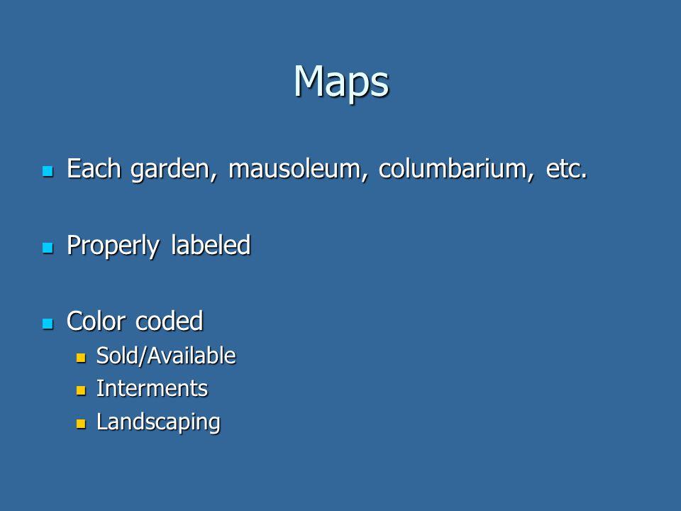 Maps Each garden, mausoleum, columbarium, etc. Each garden, mausoleum, columbarium, etc.